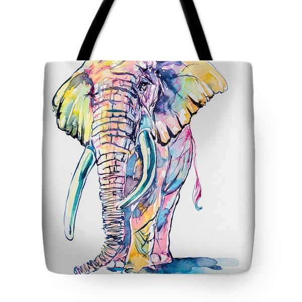 Colorful Elephant Tote Bag by Kovacs Anna Brigitta