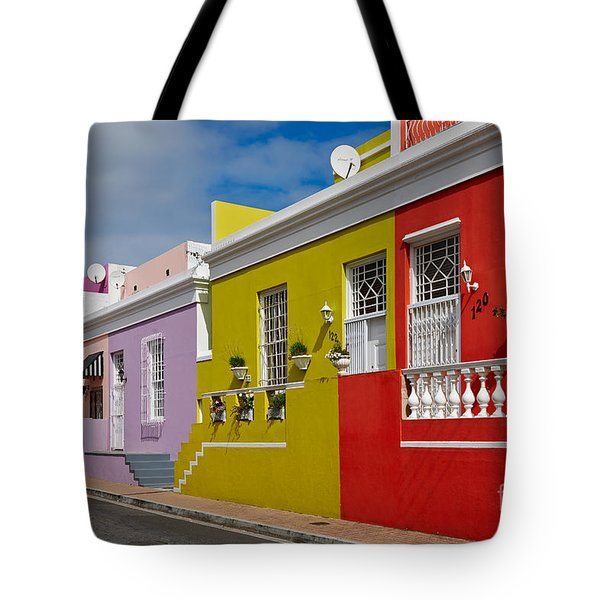 colourful buildings in Bo-Kaap Tote Bag by Juergen Ritterbach