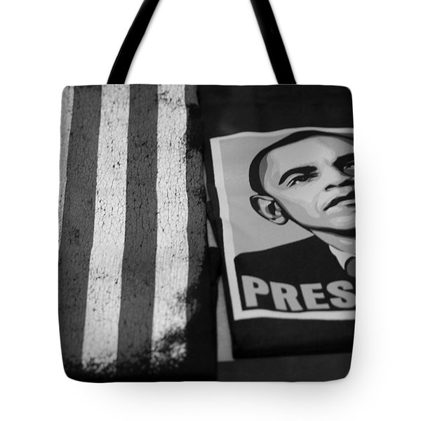 COMMERCIALIZATION OF THE PRESIDENT OF THE UNITED STATES OF AMERICA in BLACK AND WHITE  Tote Bag by ROB HANS