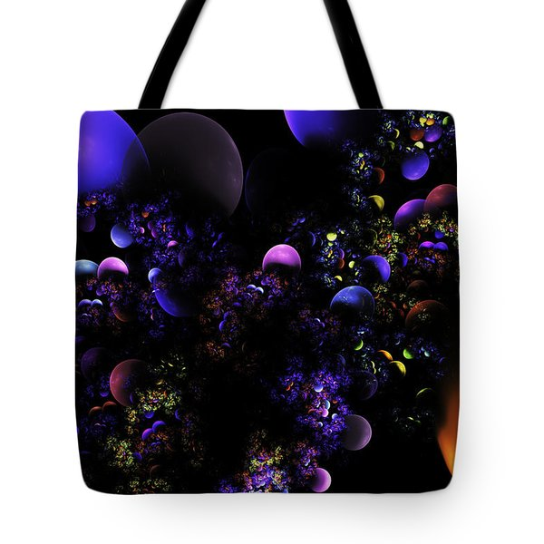 Computer Generated Spheres Abstract Fractal Flame Tote Bag by Keith Webber Jr
