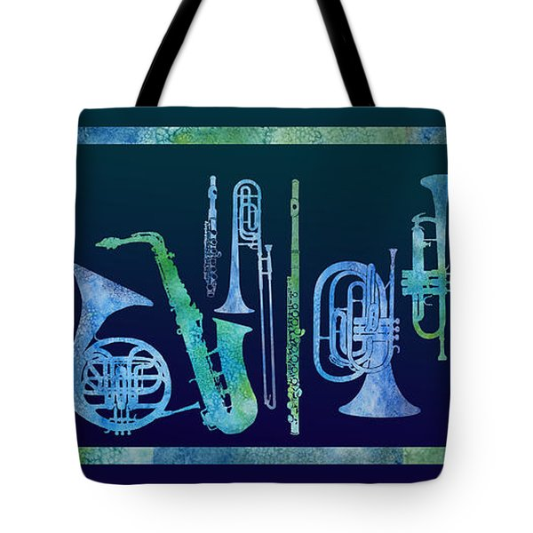 Cool Blue Band Tote Bag by Jenny Armitage