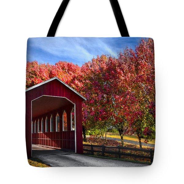 Country Lane Tote Bag by Debra and Dave Vanderlaan