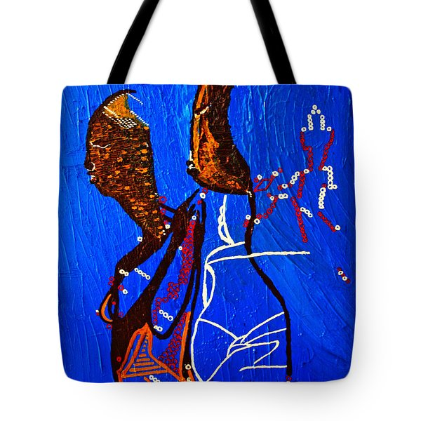 Dinka Embrace - South Sudan Tote Bag by Gloria Ssali