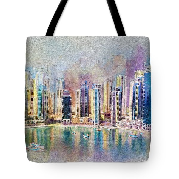Downtown Dubai Skyline Tote Bag by Corporate Art Task Force
