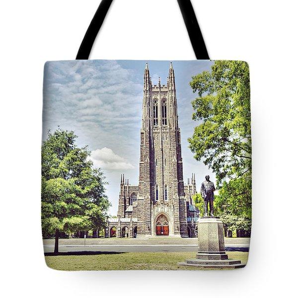 Duke Chapel In Spring Tote Bag by Emily Kay