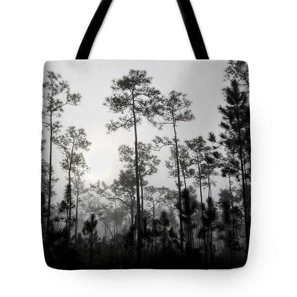 Early Morning Fog Landscape Tote Bag by Rudy Umans