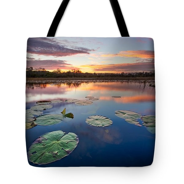 Everglades At Sunset Tote Bag by Debra and Dave Vanderlaan