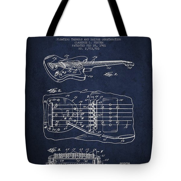 Fender Floating Tremolo patent Drawing from 1961 - Navy Blue Tote Bag by Aged Pixel