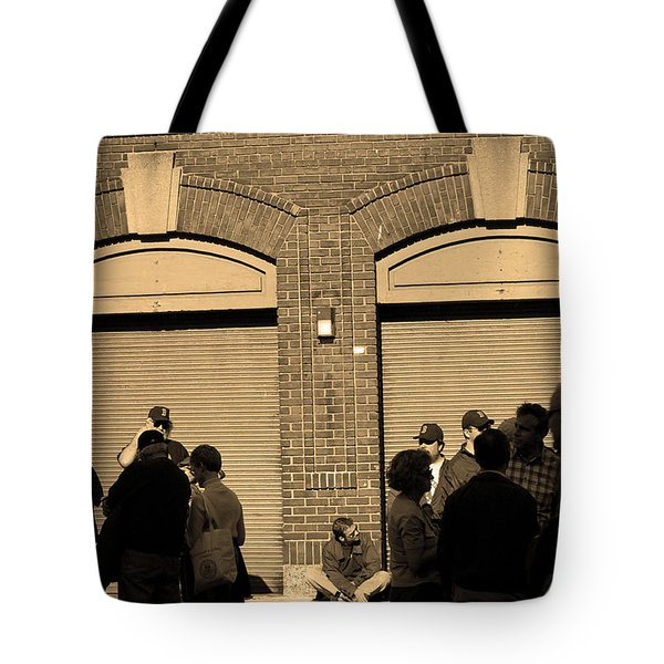 Fenway Park - Fans and Locked Gate Tote Bag by Frank Romeo