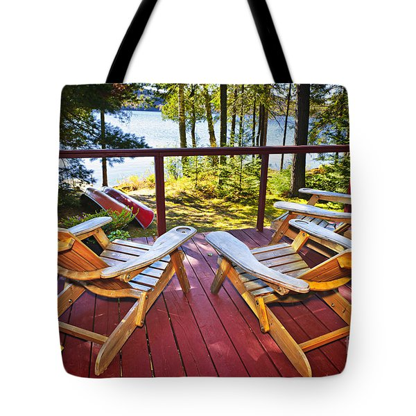 Forest cottage deck and chairs Tote Bag by Elena Elisseeva