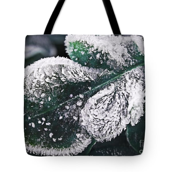 Frosty Leaf Tote Bag by Elena Elisseeva