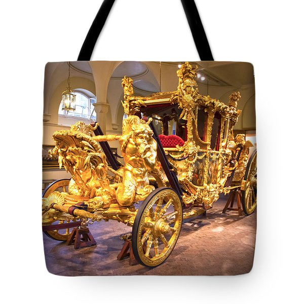 Gold State Coach Queen Elizabeth II Tote Bag by David French