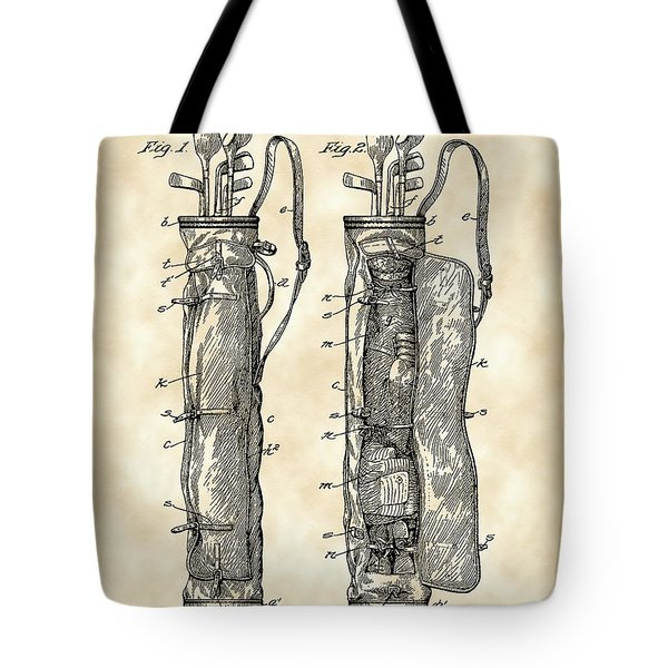 Golf Bag Patent 1905 - Vintage Tote Bag by Stephen Younts