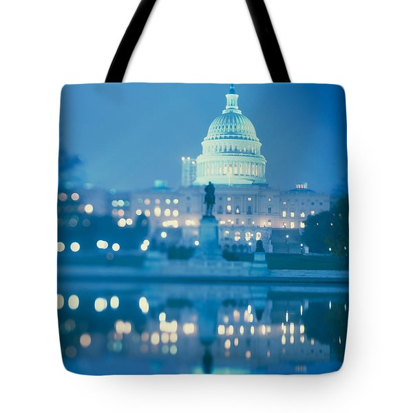 Government Building Lit Up At Night Tote Bag by Panoramic Images