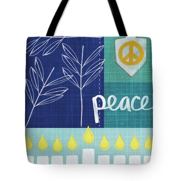 Hanukkah Peace Tote Bag by Linda Woods