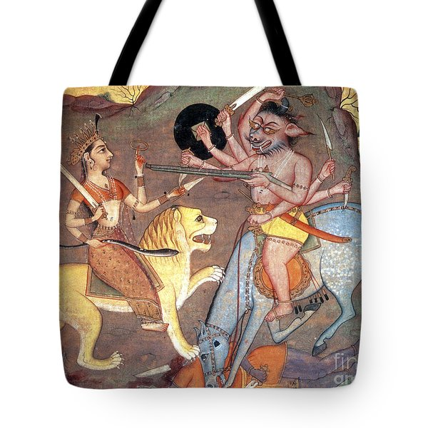 Hindu Goddess Durga Fights Mahishasur Tote Bag by Photo Researchers