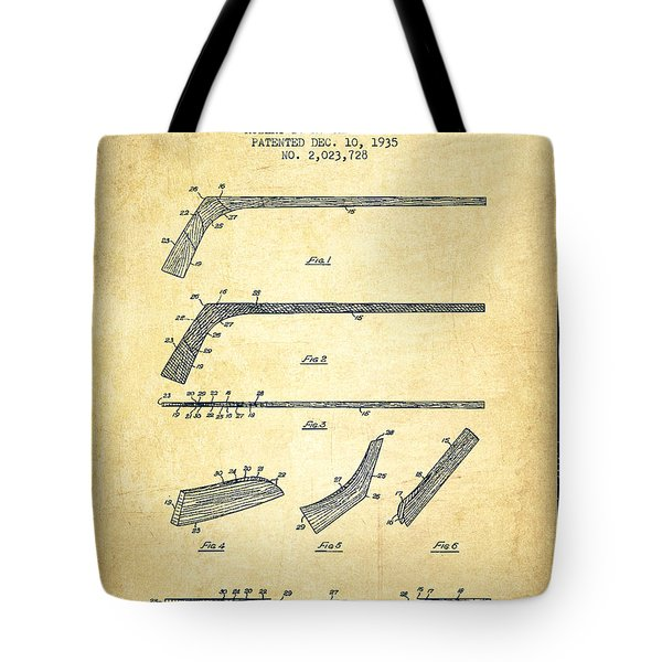 Hockey Stick Patent Drawing From 1935 Tote Bag by Aged Pixel