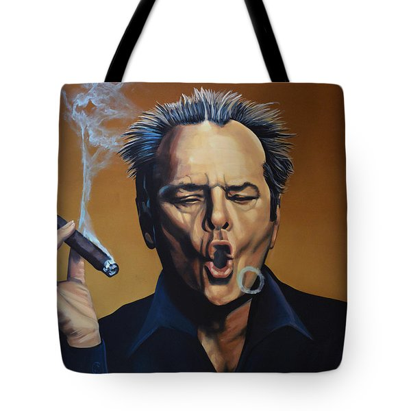Jack Nicholson Painting Tote Bag by Paul Meijering
