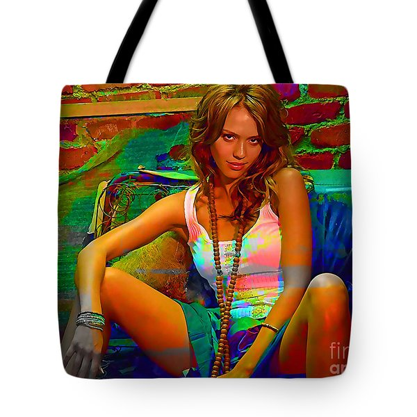 Jessica Alba Tote Bag by Marvin Blaine
