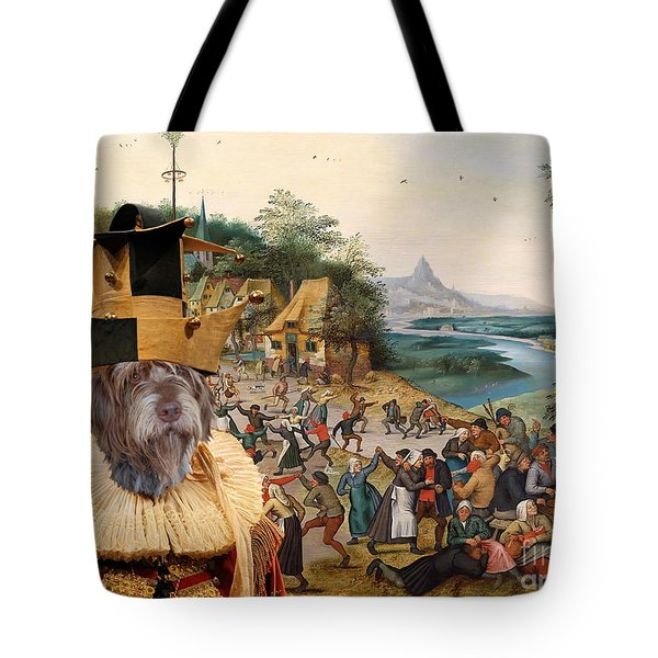 Korthals Pointing Griffon Art Canvas Print Tote Bag by Sandra Sij