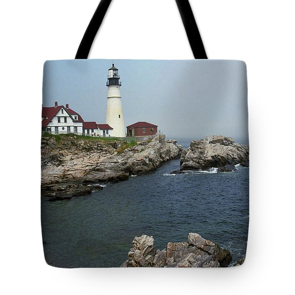 Lighthouse - Portland Head Maine Tote Bag by Frank Romeo