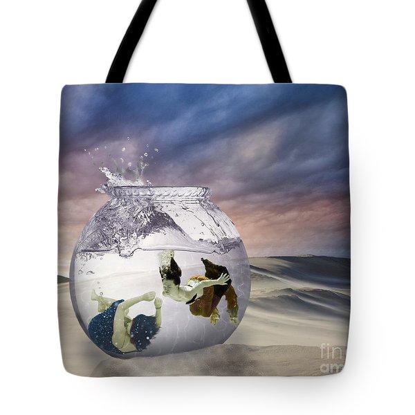 2 Lost Souls Living In A Fishbowl Tote Bag by Linda Lees