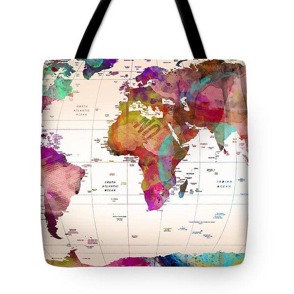 Map Of The World Tote Bag by Mark Ashkenazi