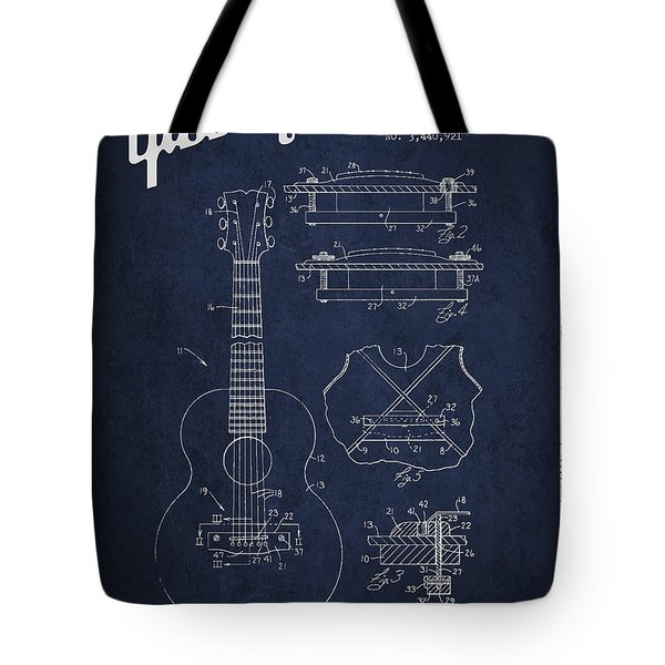 Mccarty Gibson stringed instrument patent Drawing from 1969 - Navy Blue Tote Bag by Aged Pixel