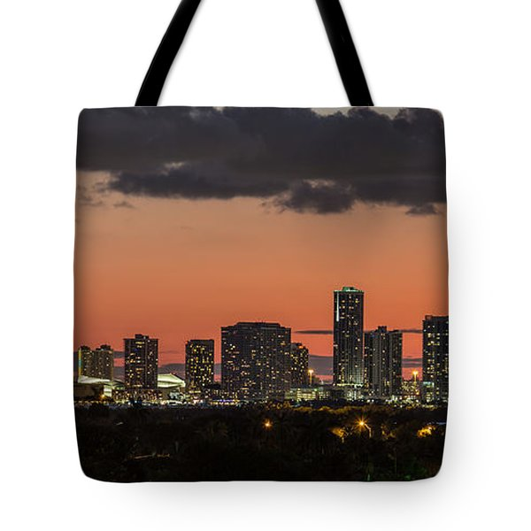 Miami Sunset Skyline Tote Bag by Rene Triay Photography