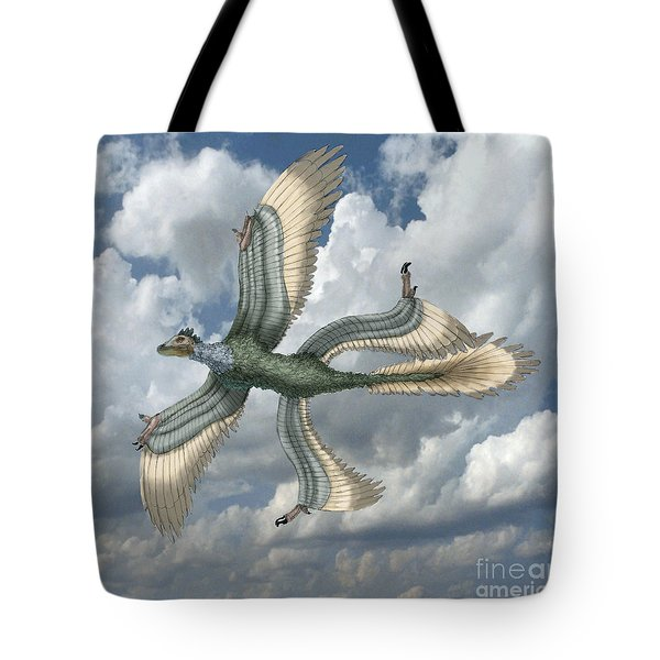 Microraptor Tote Bag by Spencer Sutton