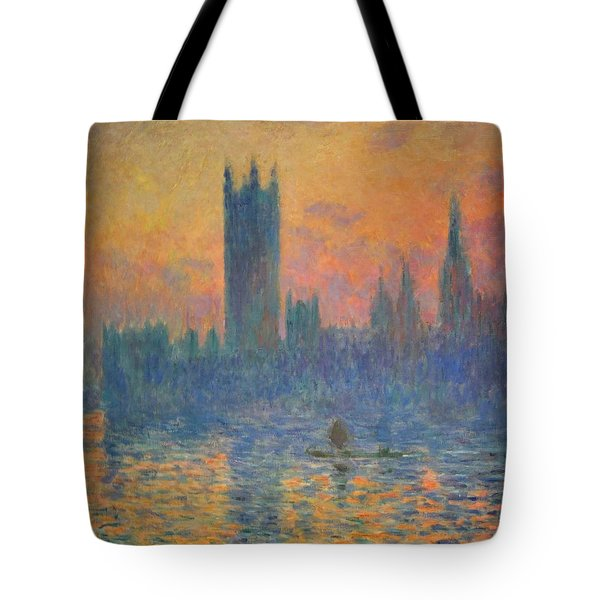 Monet's The Houses Of Parliament At Sunset Tote Bag by Cora Wandel