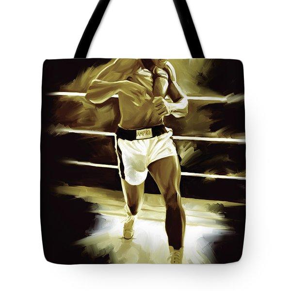 Muhammad Ali Boxing Artwork Tote Bag by Sheraz A