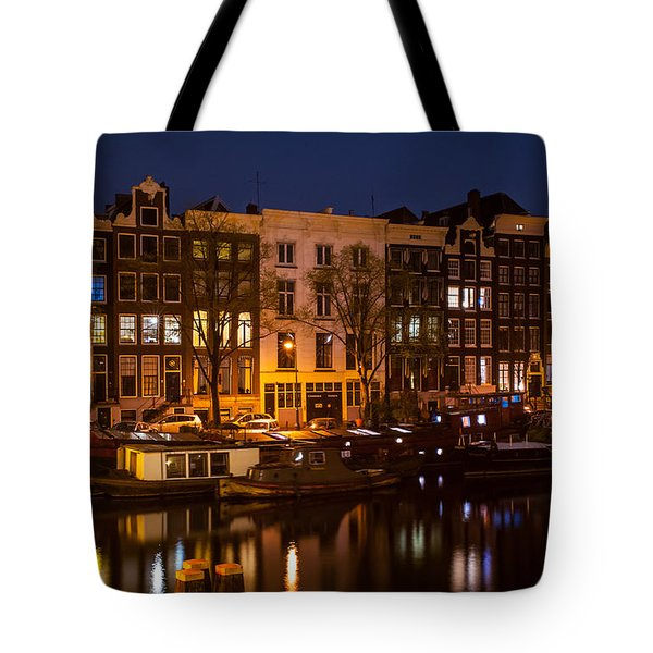 Night Lights On The Amsterdam Canals 7. Holland Tote Bag by Jenny Rainbow