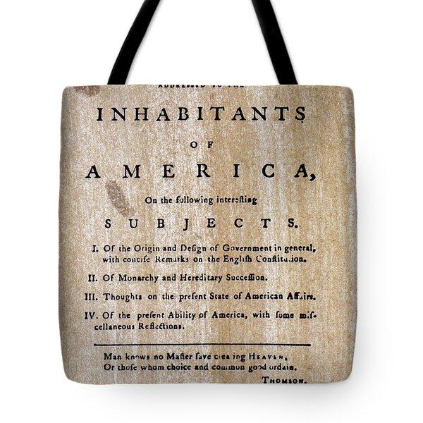 Paine: Common Sense, 1776 Tote Bag by Granger