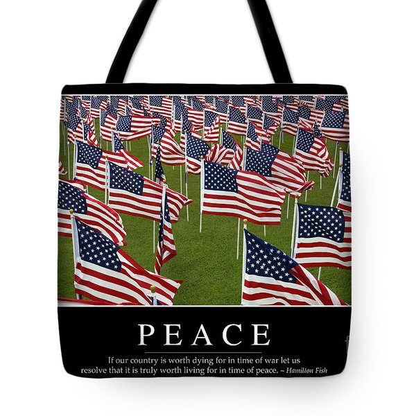 Peace Inspirational Quote Tote Bag by Stocktrek Images