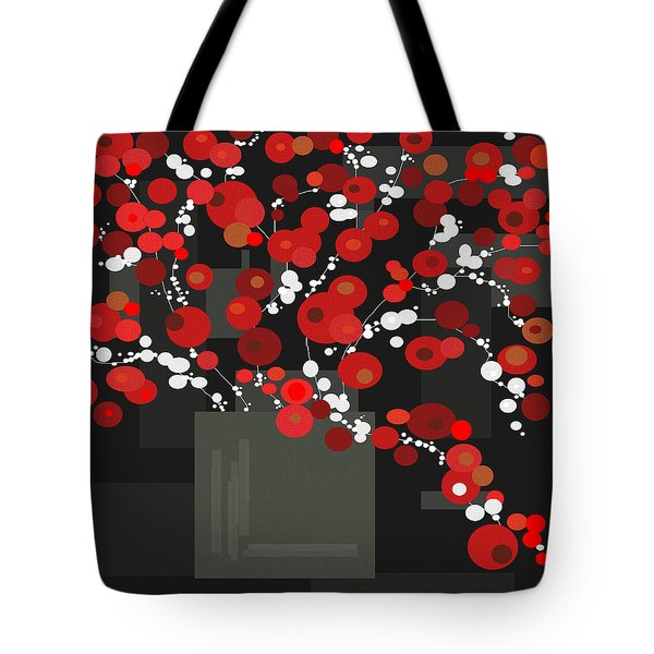 Red Flowers Tote Bag by Val Arie