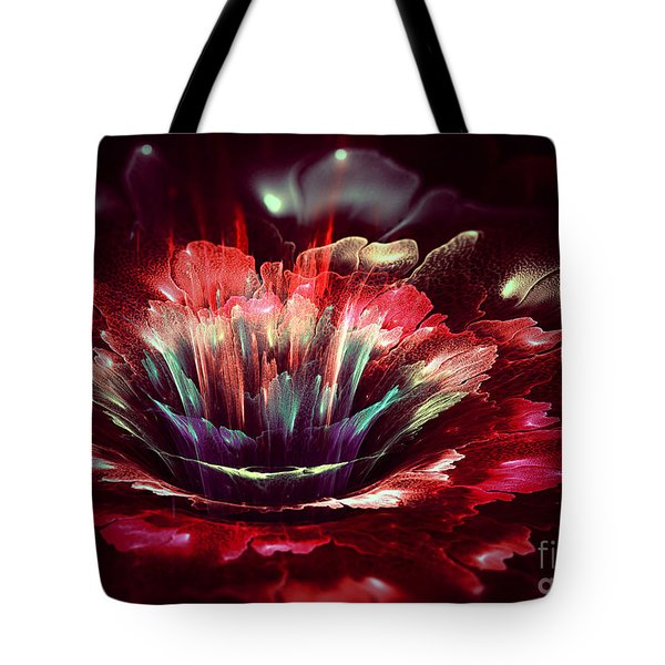 Red Fractal Flower Tote Bag by Martin Capek