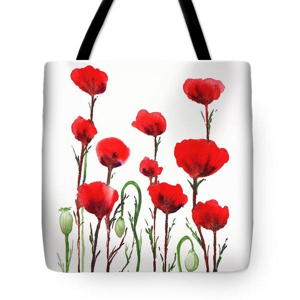 Red Poppies Tote Bag by Irina Sztukowski