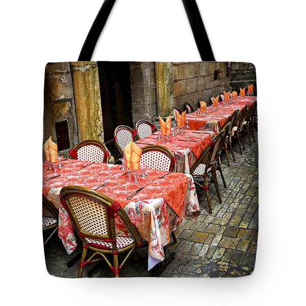 Restaurant patio in France Tote Bag by Elena Elisseeva