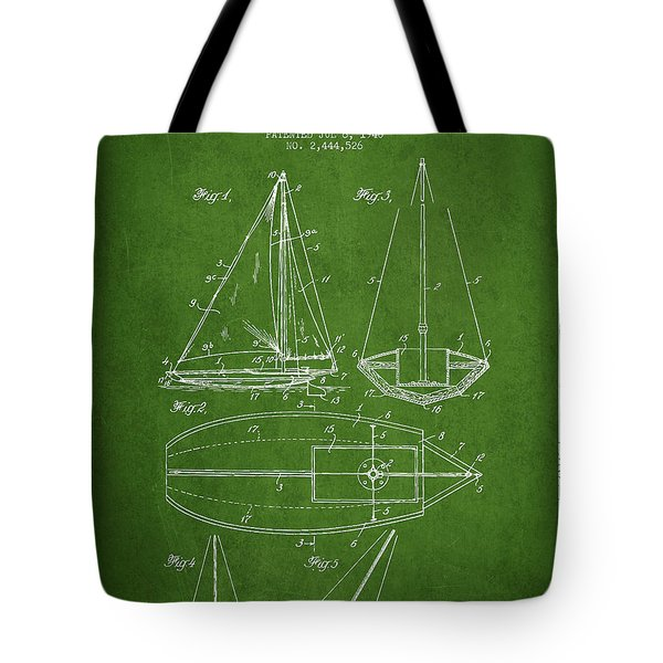 Sailboat Patent Drawing From 1948 Tote Bag by Aged Pixel