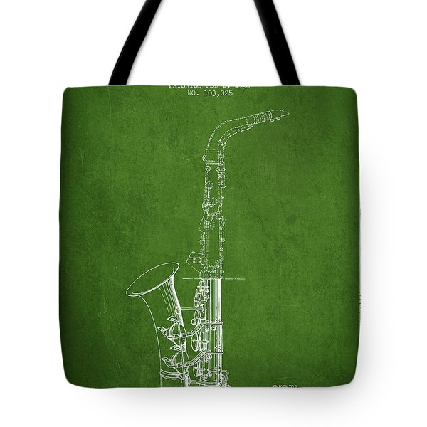 Saxophone Patent Drawing From 1937 - Green Tote Bag by Aged Pixel
