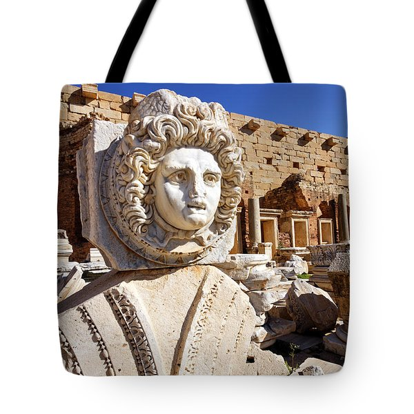Sculpted Medusa Head At The Forum Of Severus At Leptis Magna In Libya Tote Bag by Robert Preston