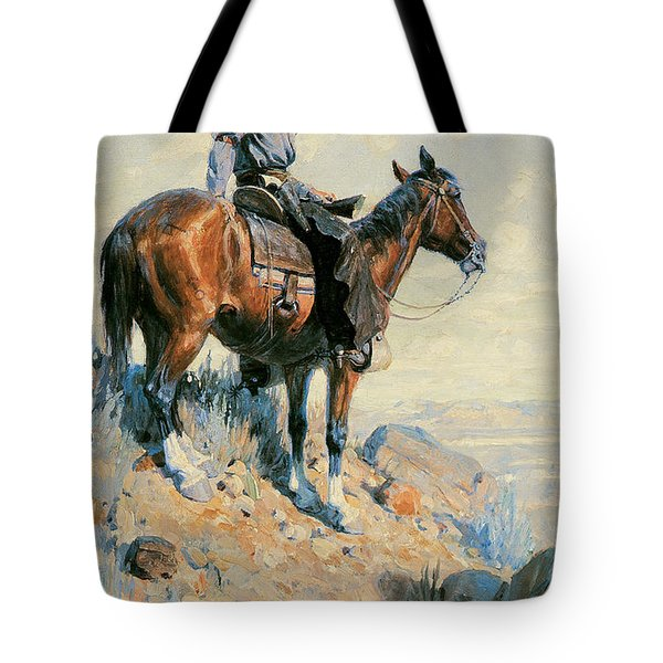 Sentinel Of The Plains Tote Bag by William Herbert Dunton