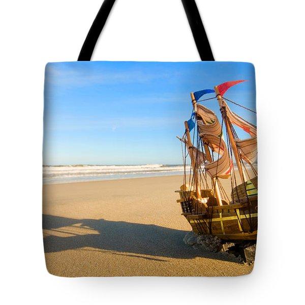 Ship Model On Summer Sunny Beach Tote Bag by Michal Bednarek