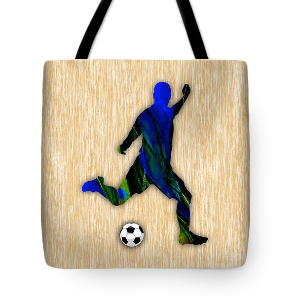 Soccer Player Tote Bag by Marvin Blaine