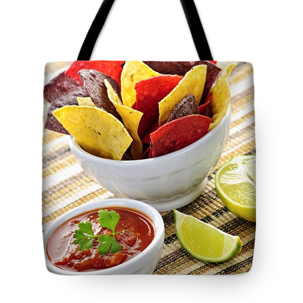 Tortilla Chips And Salsa Tote Bag by Elena Elisseeva