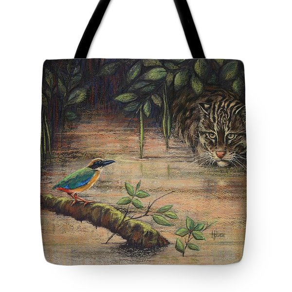 Treading Water Asian Fishing Cat Tote Bag by Cynthia House