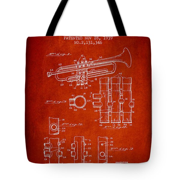 Trumpet Patent From 1939 - Red Tote Bag by Aged Pixel