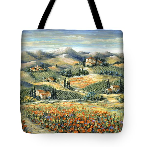 Tuscan Villa And Poppies Tote Bag by Marilyn Dunlap