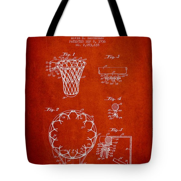 Vintage Basketball Goal Patent From 1936 Tote Bag by Aged Pixel